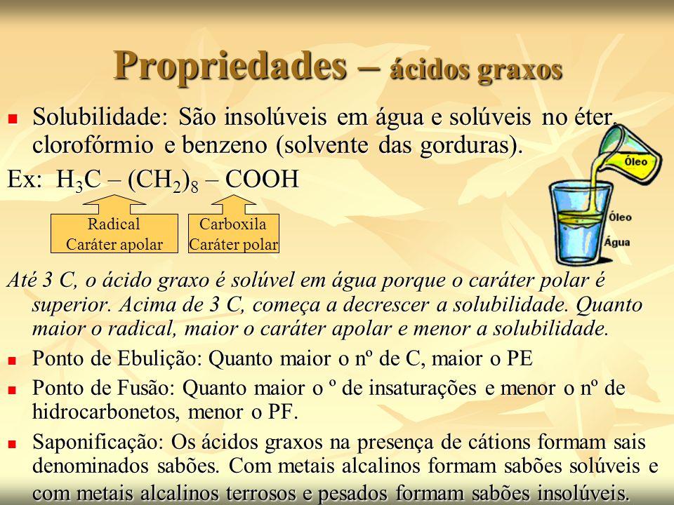Propriedades – ácidos graxos Solidificação ou Hidrogenação: Os ácidos graxos insaturados podem ser solidificados em presença de hidrogênio e de catalisadores como: Ni (níquel), Pt (platina), Pb (chumbo).