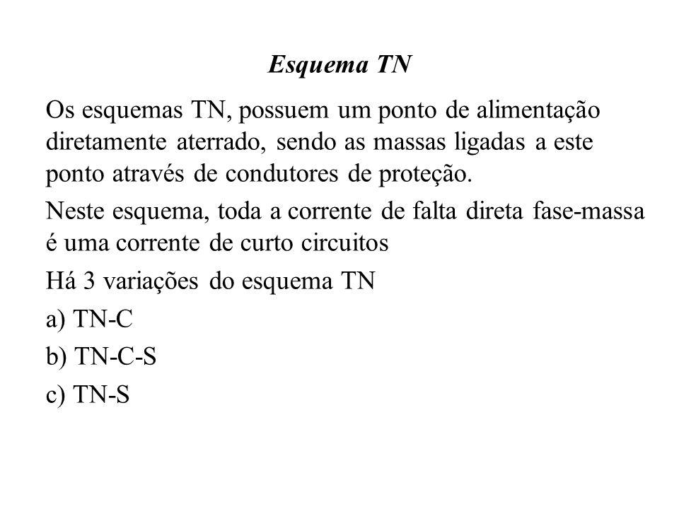 Esquema TN Os esquemas TN, possuem um ponto de alimentação diretamente aterrado, sendo as massas ligadas a este ponto através de condutores de proteção.