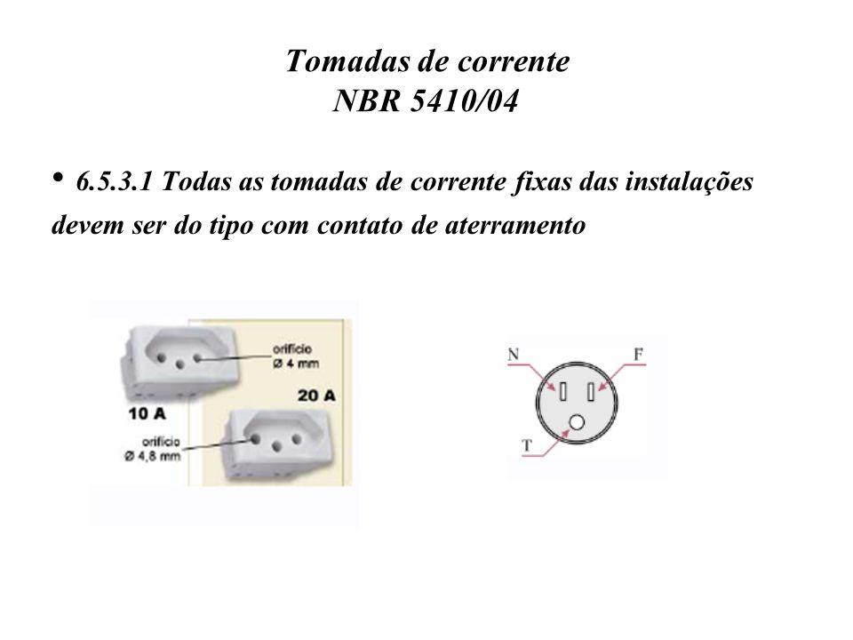 Tomadas de corrente NBR 5410/04 6.5.3.1 Todas as tomadas de corrente fixas das instalações devem ser do tipo com contato de aterramento
