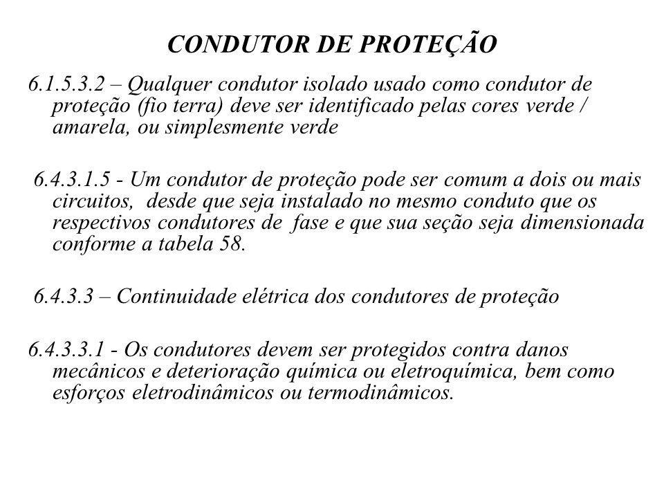 CONDUTOR DE PROTEÇÃO 6.1.5.3.2 – Qualquer condutor isolado usado como condutor de proteção (fio terra) deve ser identificado pelas cores verde / amarela, ou simplesmente verde 6.4.3.1.5 - Um condutor de proteção pode ser comum a dois ou mais circuitos, desde que seja instalado no mesmo conduto que os respectivos condutores de fase e que sua seção seja dimensionada conforme a tabela 58.