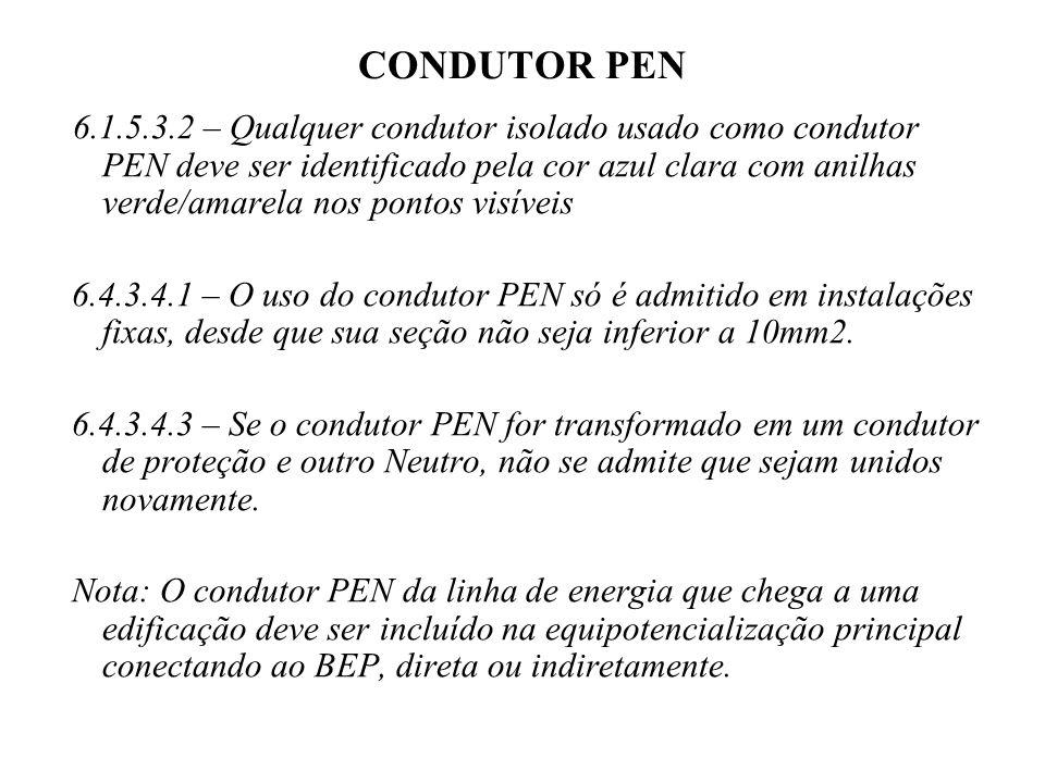 CONDUTOR PEN 6.1.5.3.2 – Qualquer condutor isolado usado como condutor PEN deve ser identificado pela cor azul clara com anilhas verde/amarela nos pontos visíveis 6.4.3.4.1 – O uso do condutor PEN só é admitido em instalações fixas, desde que sua seção não seja inferior a 10mm2.