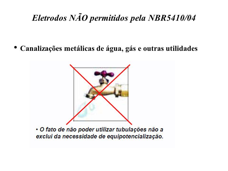 Eletrodos NÃO permitidos pela NBR5410/04 Canalizações metálicas de água, gás e outras utilidades