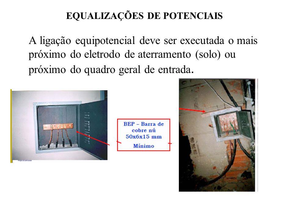 EQUALIZAÇÕES DE POTENCIAIS A ligação equipotencial deve ser executada o mais próximo do eletrodo de aterramento (solo) ou próximo do quadro geral de entrada.