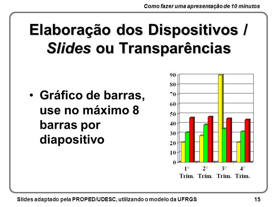 Como fazer uma apresentação de 10 minutos Slides adaptado pela PROPED/UDESC, utilizando o modelo da UFRGS 15 Elaboração dos Dispositivos / Slides ou Transparências Gráfico de barras, use no máximo 8 barras por diapositivo