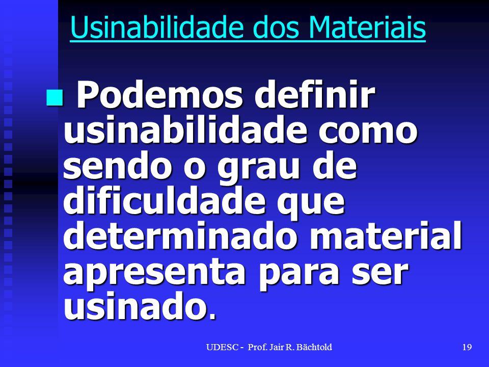 Podemos definir usinabilidade como sendo o grau de dificuldade que determinado material apresenta para ser usinado. Podemos definir usinabilidade como