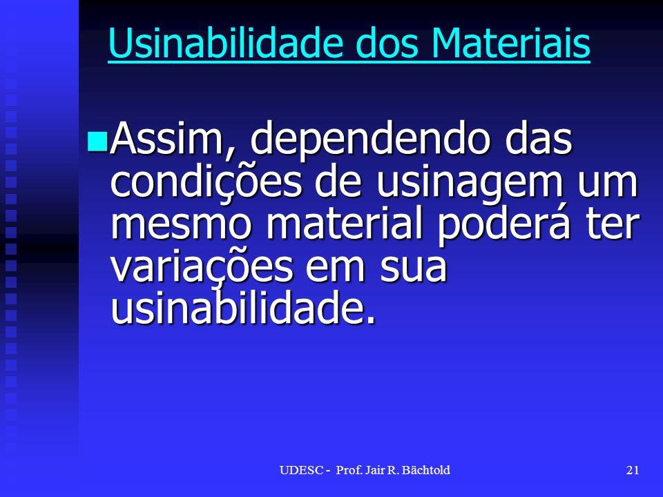 Assim, dependendo das condições de usinagem um mesmo material poderá ter variações em sua usinabilidade. Assim, dependendo das condições de usinagem u