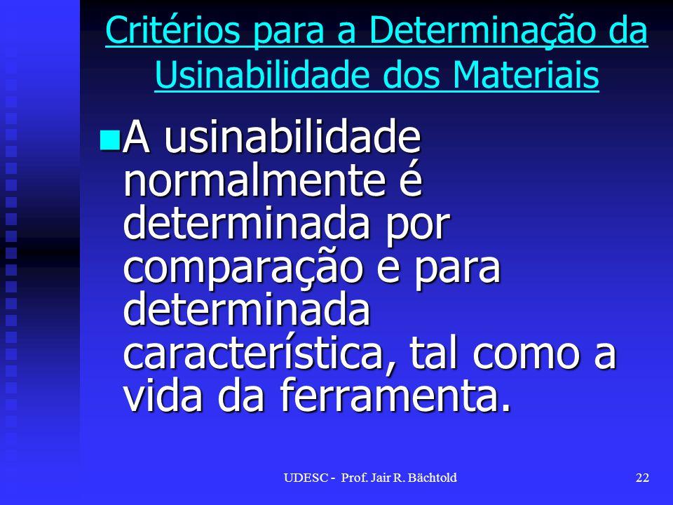 A usinabilidade normalmente é determinada por comparação e para determinada característica, tal como a vida da ferramenta. A usinabilidade normalmente