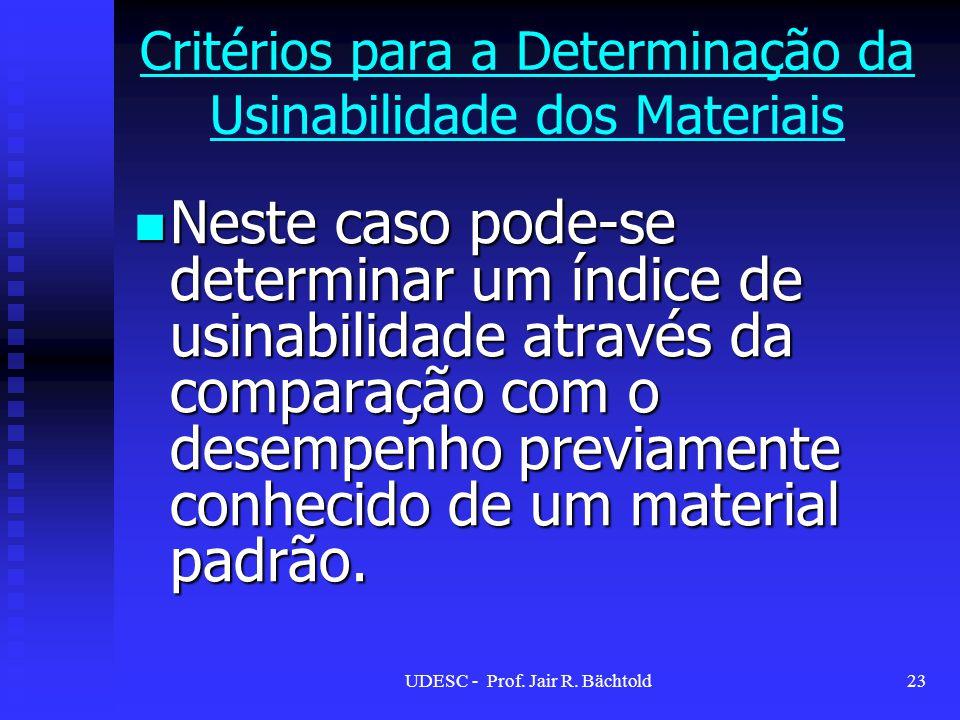 Neste caso pode-se determinar um índice de usinabilidade através da comparação com o desempenho previamente conhecido de um material padrão. Neste cas