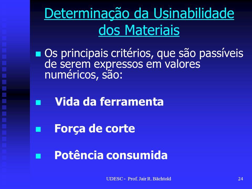 Os principais critérios, que são passíveis de serem expressos em valores numéricos, são: Vida da ferramenta Força de corte Potência consumida Determin