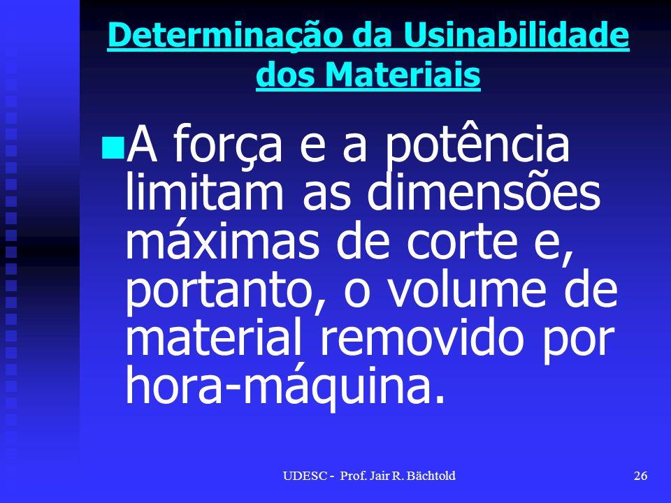A força e a potência limitam as dimensões máximas de corte e, portanto, o volume de material removido por hora-máquina. Determinação da Usinabilidade