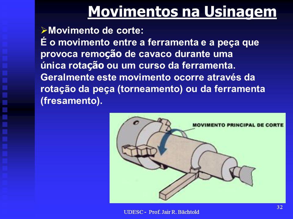 Movimentos na Usinagem Movimento de corte: É o movimento entre a ferramenta e a peça que provoca remo ção de cavaco durante uma única rota ção ou um c