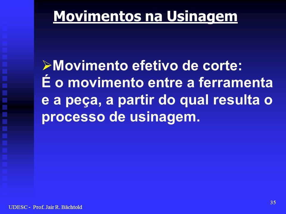 Movimentos na Usinagem Movimento efetivo de corte: É o movimento entre a ferramenta e a peça, a partir do qual resulta o processo de usinagem. 35 UDES