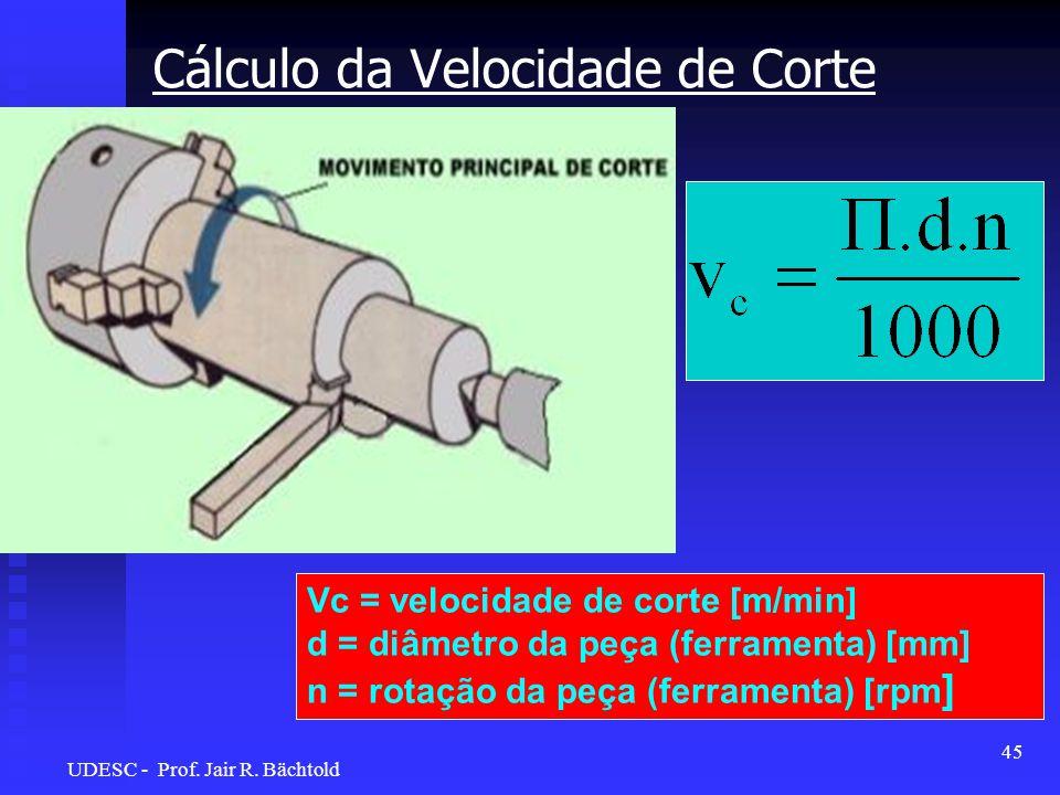 Cálculo da Velocidade de Corte Vc = velocidade de corte [m/min] d = diâmetro da peça (ferramenta) [mm] n = rotação da peça (ferramenta) [rpm ] 45 UDES