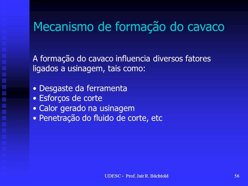 Mecanismo de formação do cavaco A formação do cavaco influencia diversos fatores ligados a usinagem, tais como: Desgaste da ferramenta Esforços de cor