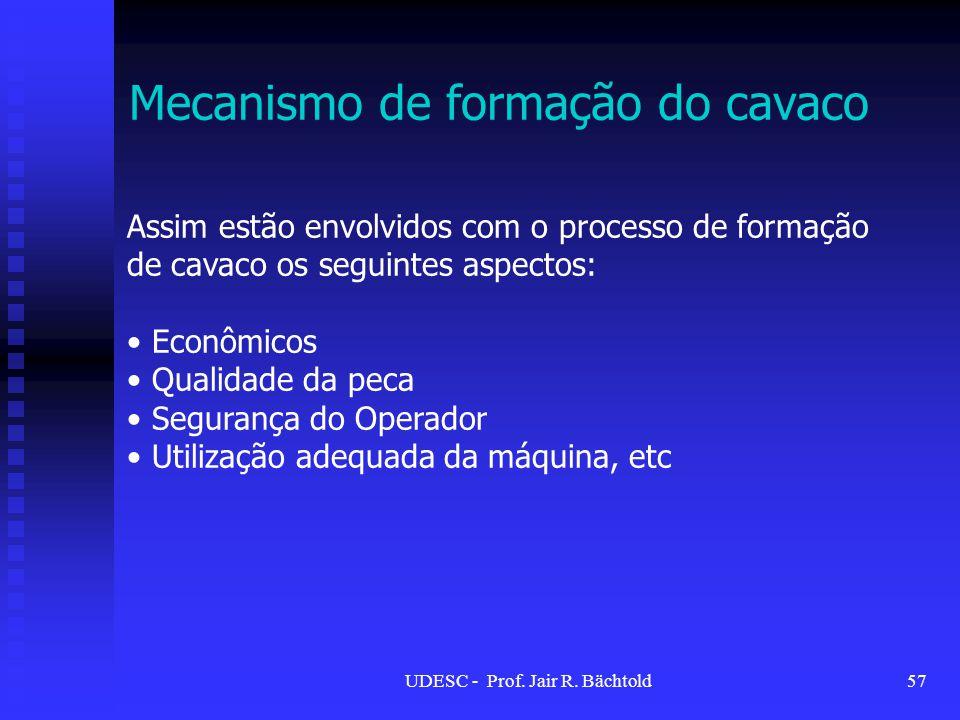 Mecanismo de formação do cavaco Assim estão envolvidos com o processo de formação de cavaco os seguintes aspectos: Econômicos Qualidade da peca Segura
