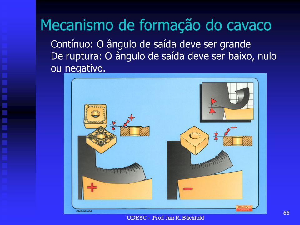 Contínuo: O ângulo de saída deve ser grande De ruptura: O ângulo de saída deve ser baixo, nulo ou negativo. Mecanismo de formação do cavaco 66 UDESC -
