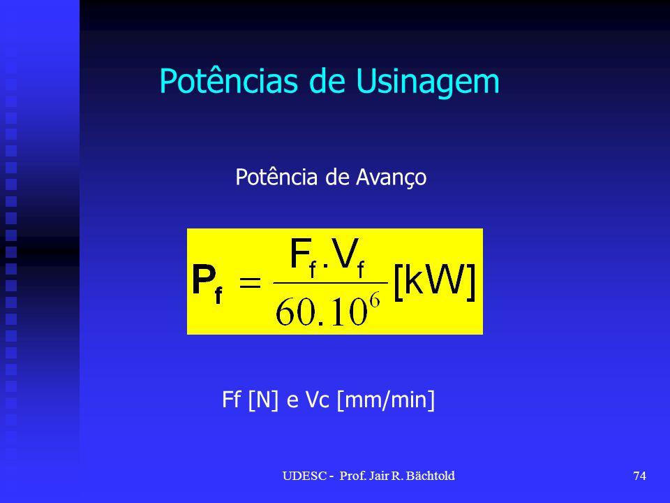 Potências de Usinagem Potência de Avanço Ff [N] e Vc [mm/min] 74UDESC - Prof. Jair R. Bächtold