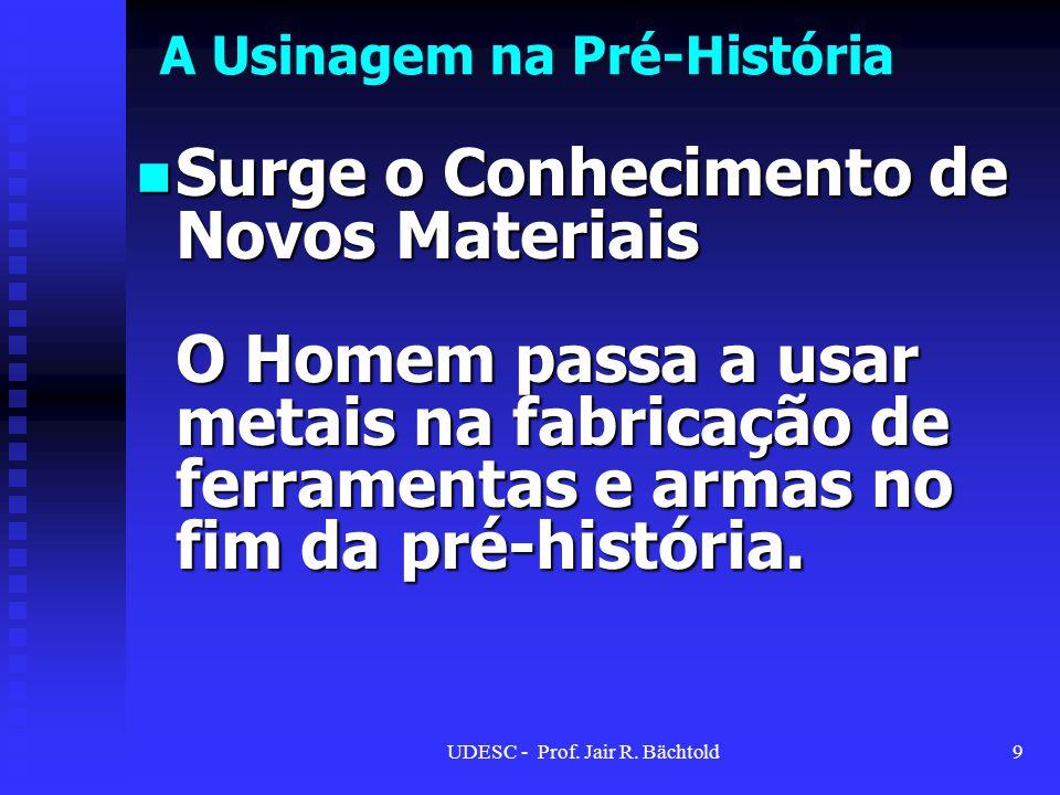 A Usinagem na Pré-História Surge o Conhecimento de Novos Materiais O Homem passa a usar metais na fabricação de ferramentas e armas no fim da pré-hist
