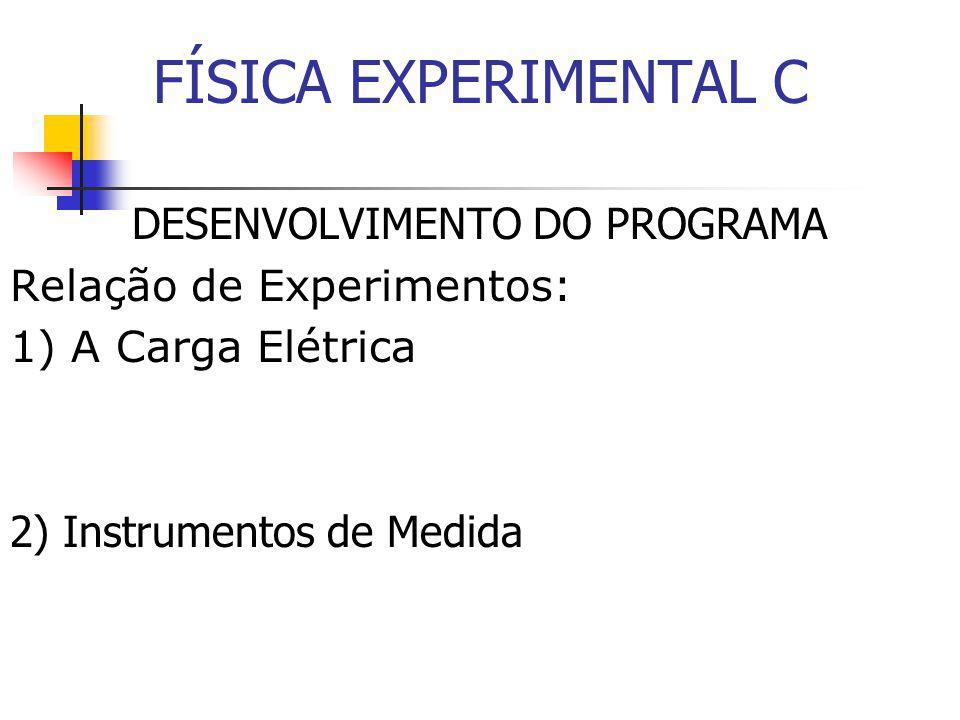 DESENVOLVIMENTO DO PROGRAMA Relação de Experimentos: 1) A Carga Elétrica 2) Instrumentos de Medida