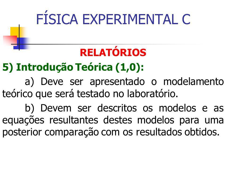 FÍSICA EXPERIMENTAL C RELATÓRIOS 5) Introdução Teórica (1,0): a) Deve ser apresentado o modelamento teórico que será testado no laboratório.
