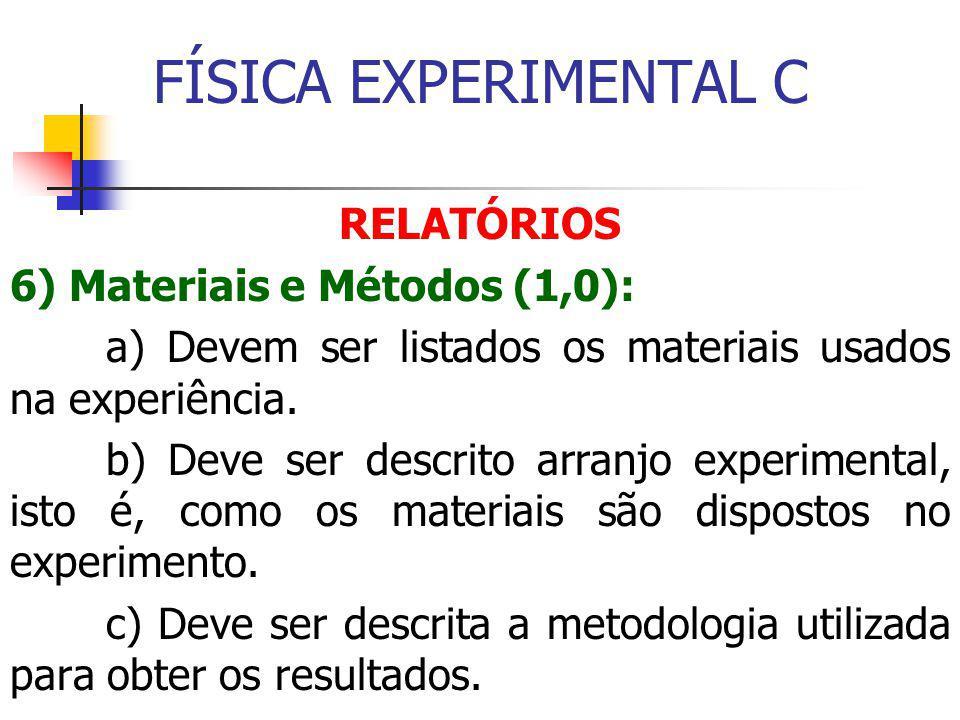 FÍSICA EXPERIMENTAL C RELATÓRIOS 6) Materiais e Métodos (1,0): a) Devem ser listados os materiais usados na experiência.