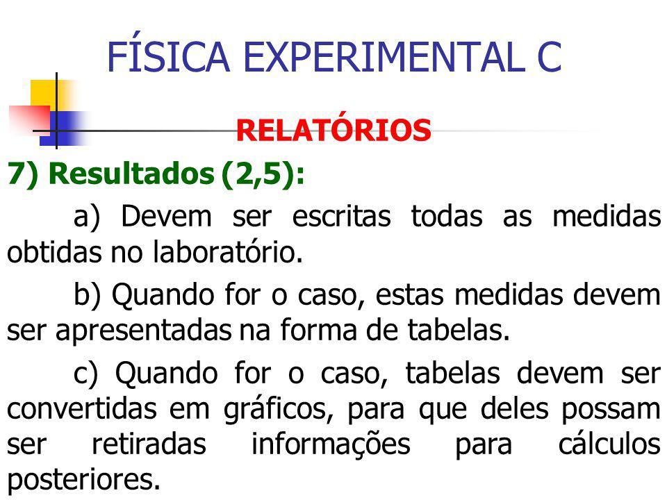 FÍSICA EXPERIMENTAL C RELATÓRIOS 7) Resultados (2,5): a) Devem ser escritas todas as medidas obtidas no laboratório.