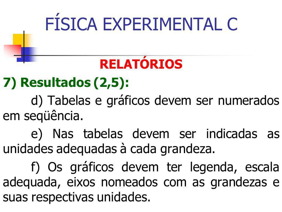 FÍSICA EXPERIMENTAL C RELATÓRIOS 7) Resultados (2,5): d) Tabelas e gráficos devem ser numerados em seqüência.