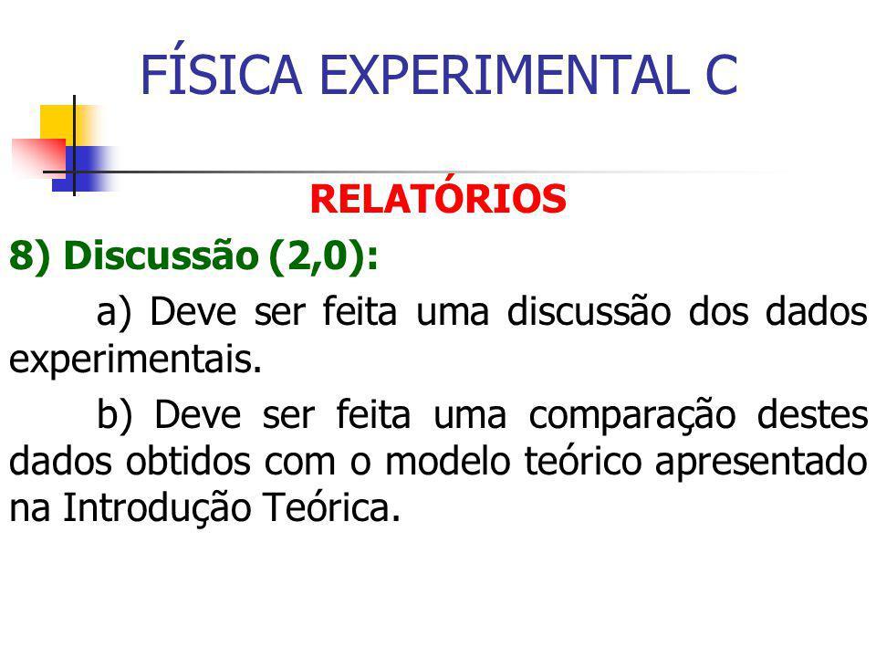 FÍSICA EXPERIMENTAL C RELATÓRIOS 8) Discussão (2,0): a) Deve ser feita uma discussão dos dados experimentais.