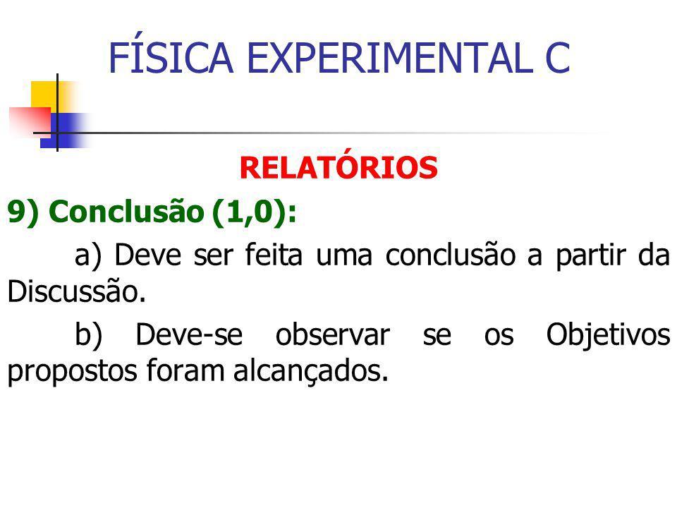 FÍSICA EXPERIMENTAL C RELATÓRIOS 9) Conclusão (1,0): a) Deve ser feita uma conclusão a partir da Discussão.