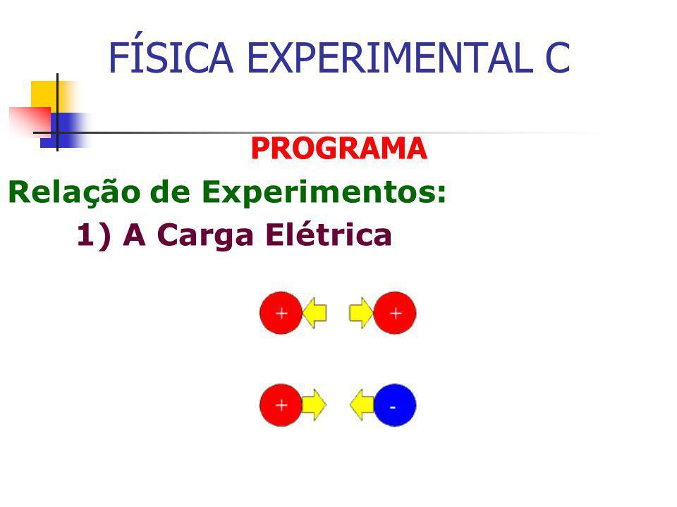 FÍSICA EXPERIMENTAL C PROGRAMA Relação de Experimentos: 1) A Carga Elétrica