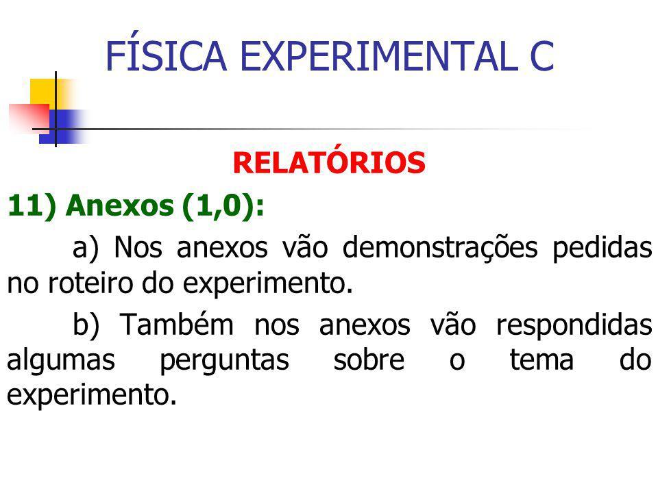 FÍSICA EXPERIMENTAL C RELATÓRIOS 11) Anexos (1,0): a) Nos anexos vão demonstrações pedidas no roteiro do experimento.