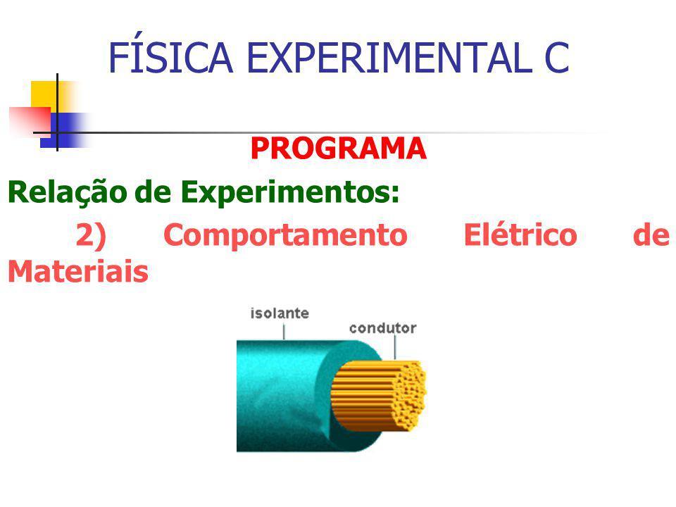 FÍSICA EXPERIMENTAL C PROGRAMA Relação de Experimentos: 2) Comportamento Elétrico de Materiais