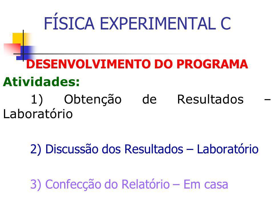 DESENVOLVIMENTO DO PROGRAMA Atividades: 1) Obtenção de Resultados – Laboratório 2) Discussão dos Resultados – Laboratório 3) Confecção do Relatório – Em casa FÍSICA EXPERIMENTAL C