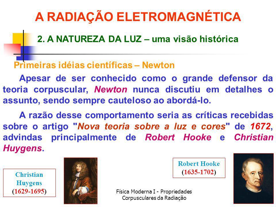 Física Moderna I - Propriedades Corpusculares da Radiação Primeiras idéias científicas – Newton Apesar de ser conhecido como o grande defensor da teor