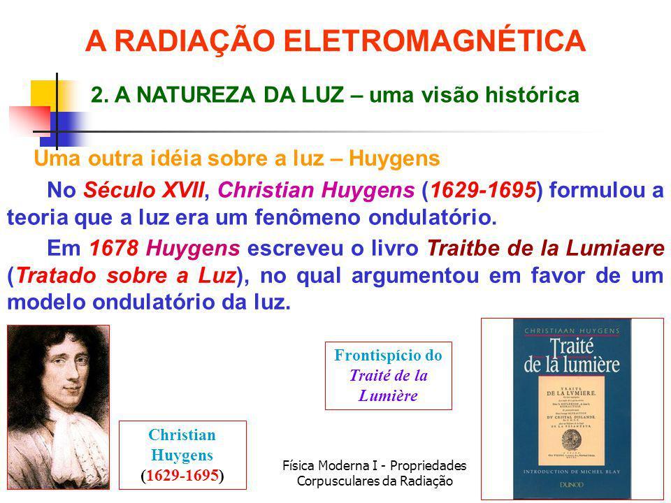 Física Moderna I - Propriedades Corpusculares da Radiação Uma outra idéia sobre a luz – Huygens No Século XVII, Christian Huygens (1629-1695) formulou