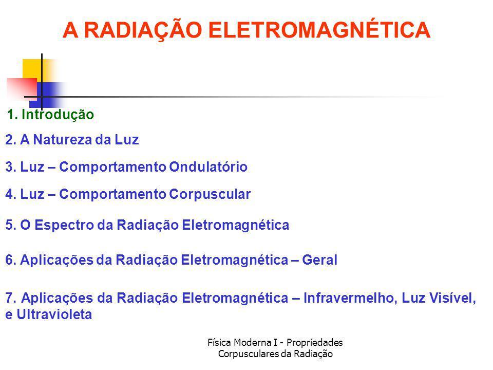 Física Moderna I - Propriedades Corpusculares da Radiação A LUZ VISÍVEL – apenas um pedaço do espectro...