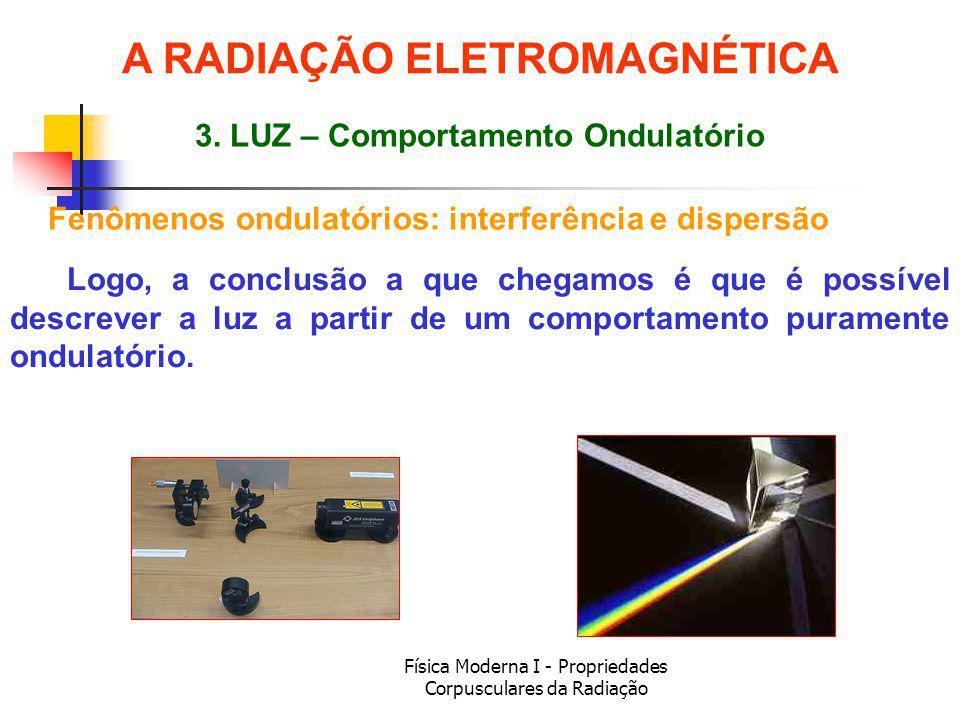 Física Moderna I - Propriedades Corpusculares da Radiação Logo, a conclusão a que chegamos é que é possível descrever a luz a partir de um comportamen