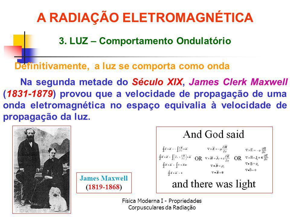 Física Moderna I - Propriedades Corpusculares da Radiação Definitivamente, a luz se comporta como onda James Maxwell (1819-1868) Na segunda metade do