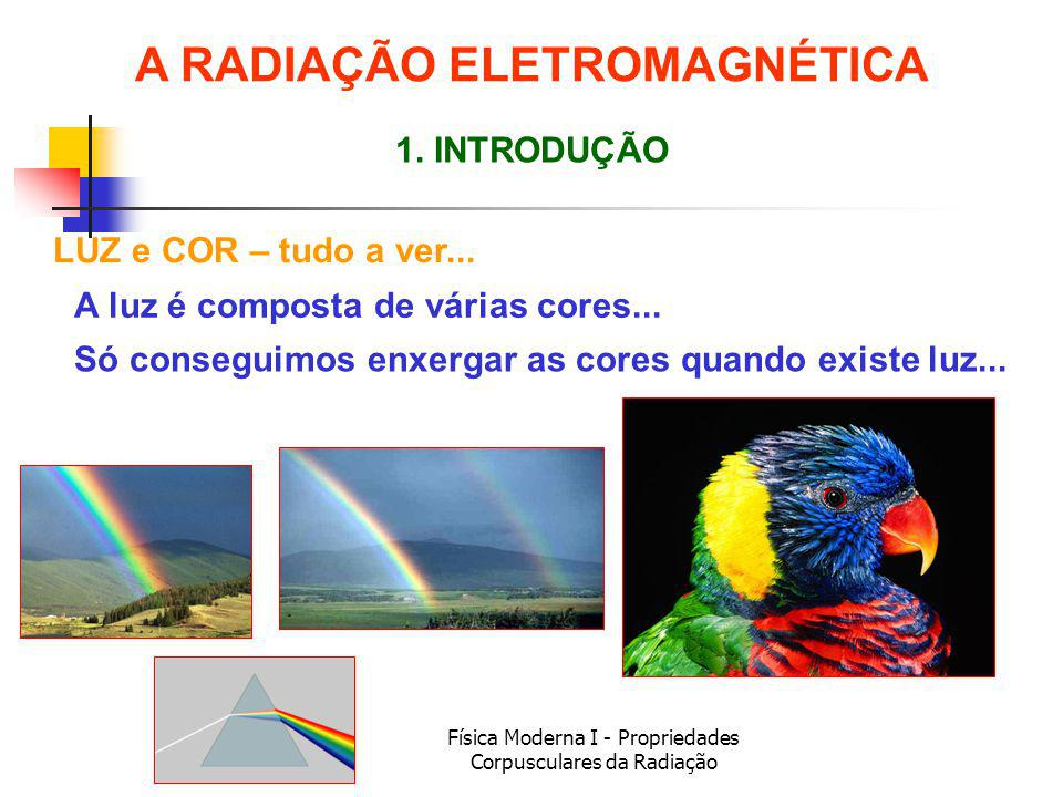 Física Moderna I - Propriedades Corpusculares da Radiação LUZ e COR – tudo a ver... 1. INTRODUÇÃO A luz é composta de várias cores... A RADIAÇÃO ELETR