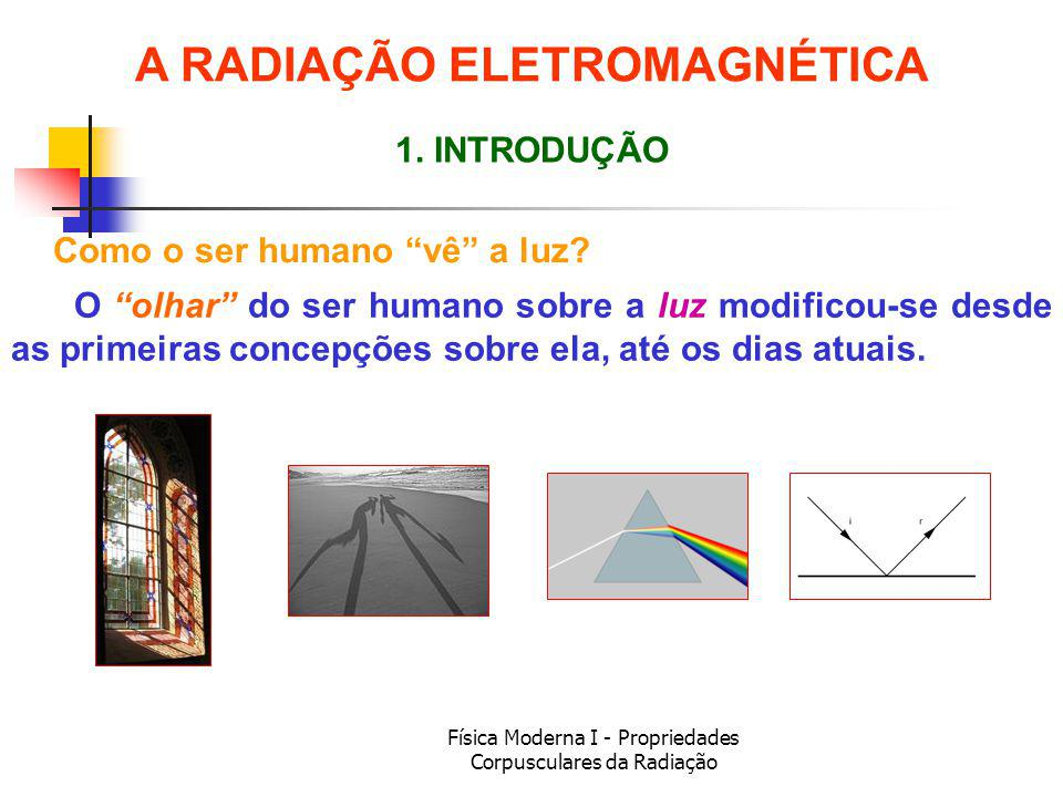 Física Moderna I - Propriedades Corpusculares da Radiação Experimentos Básicos – Grimaldi Francesco Maria Grimaldi (1618-1663) observou os efeitos de difração, mas o significado de suas observações não foi compreendida naquela época.