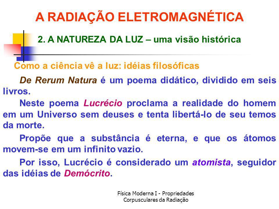 Física Moderna I - Propriedades Corpusculares da Radiação Como a ciência vê a luz: idéias filosóficas De Rerum Natura é um poema didático, dividido em