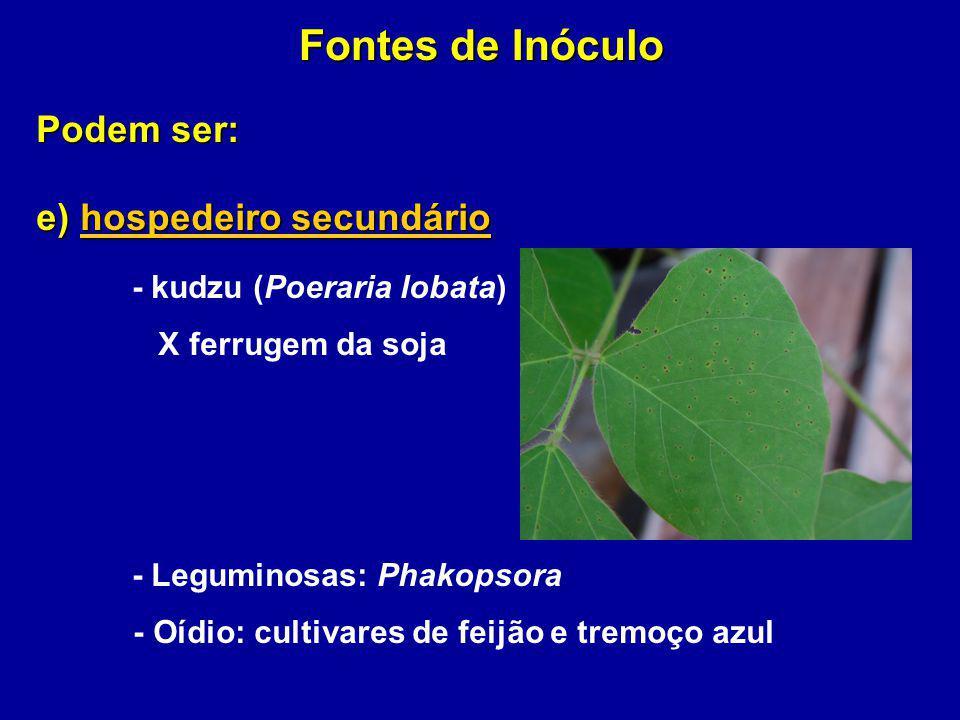 Podem ser: e) hospedeiro secundário - kudzu (Poeraria lobata) X ferrugem da soja - Leguminosas: Phakopsora - Oídio: cultivares de feijão e tremoço azu