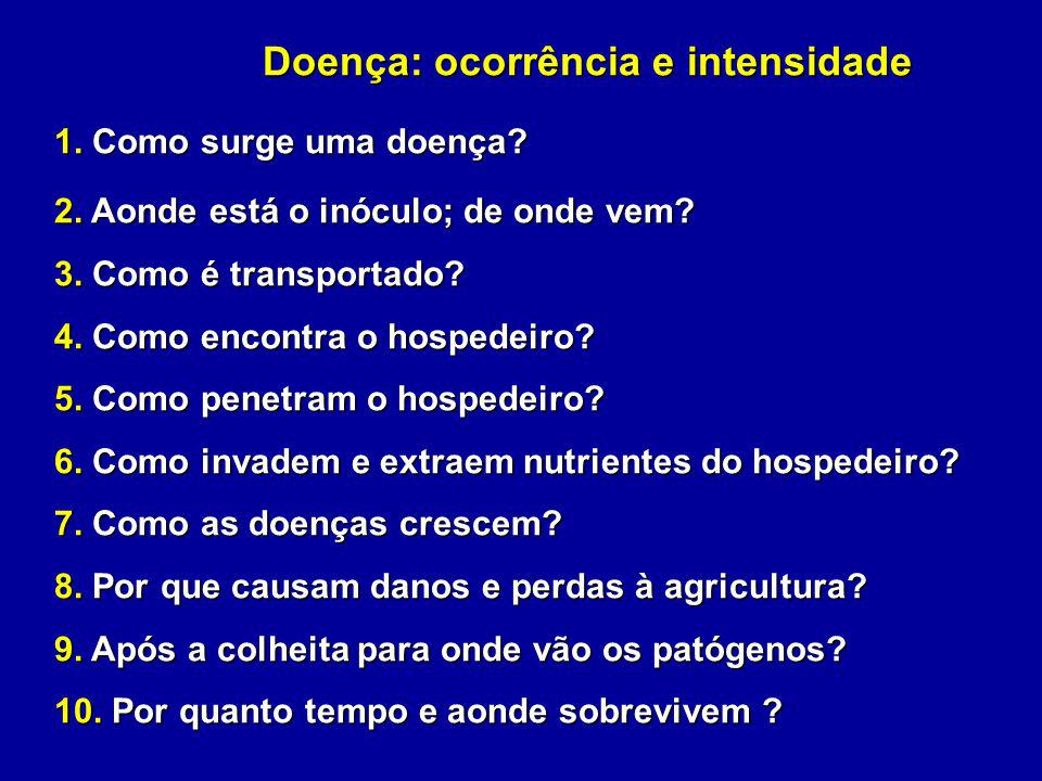 Doença: ocorrência e intensidade 1. Como surge uma doença? 2. Aonde está o inóculo; de onde vem? 3. Como é transportado? 4. Como encontra o hospedeiro