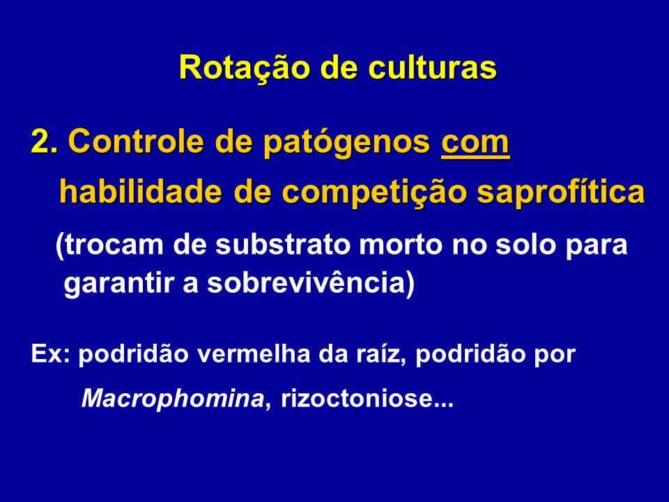 Rotação de culturas 2. Controle de patógenos com habilidade de competição saprofítica habilidade de competição saprofítica (trocam de substrato morto