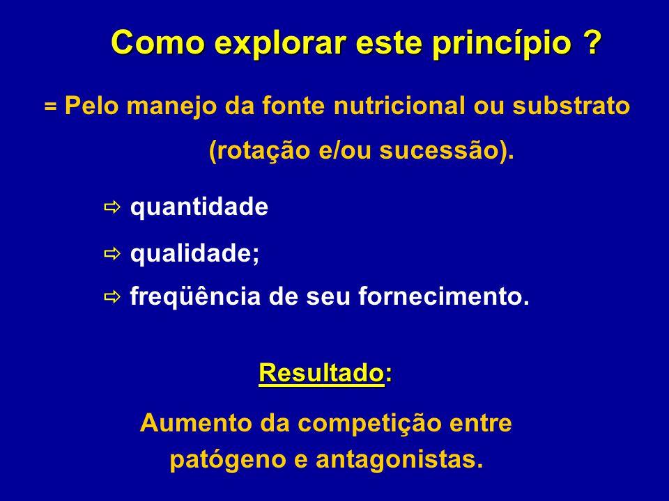 Como explorar este princípio ? Como explorar este princípio ? = Pelo manejo da fonte nutricional ou substrato (rotação e/ou sucessão). quantidade qual