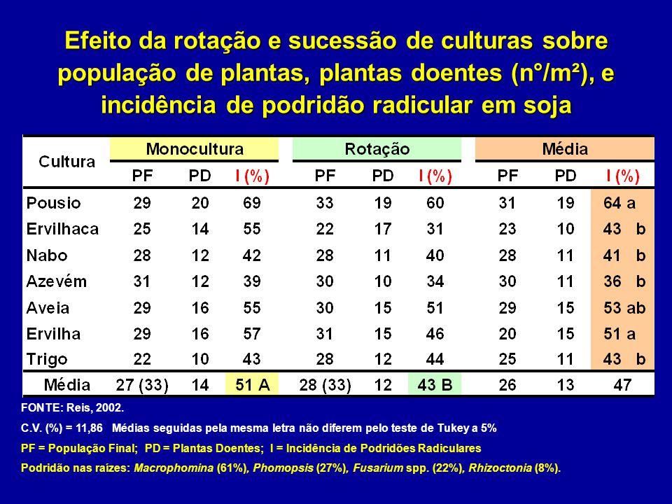 Efeito da rotação e sucessão de culturas sobre população de plantas, plantas doentes (n°/m²), e incidência de podridão radicular em soja FONTE: Reis,