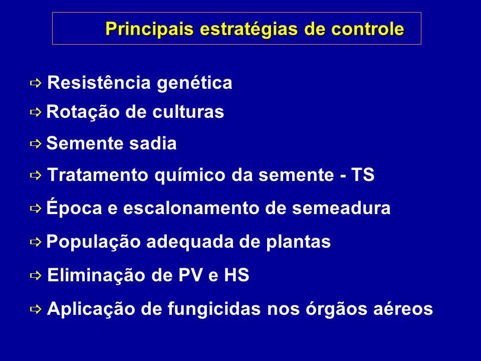 Principais estratégias de controle Resistência genética Rotação de culturas Semente sadia Tratamento químico da semente - TS Época e escalonamento de