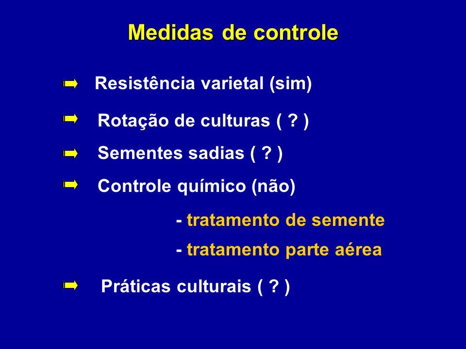 Medidas de controle Resistência varietal (sim) Rotação de culturas ( ? ) Sementes sadias ( ? ) Controle químico (não) - tratamento de semente - tratam