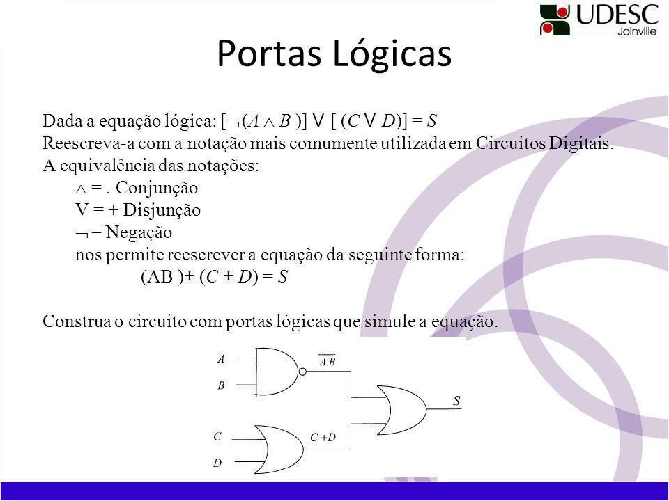 Dada a equação lógica: [ (A B )] V [ (C V D)] = S Reescreva-a com a notação mais comumente utilizada em Circuitos Digitais.