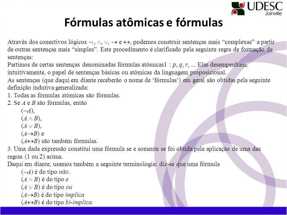 Fórmulas atômicas e fórmulas Através dos conectivos lógicos,,, e, podemos construir sentenças mais complexas a partir de outras sentenças mais simples.